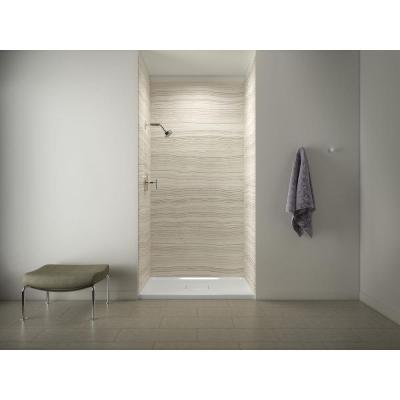 Archer 48 in. x 36 in. Center Drain Shower Base w/ Choreograph 96 in. 5-Piece Bath or Shower Wall Kit in VeinCut Biscuit
