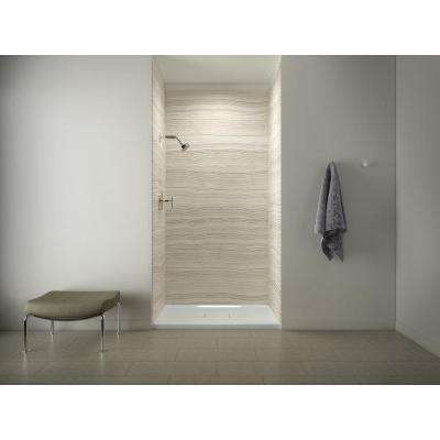 Archer Shower Base in White with Choreograph 96 in. 5-Piece Bath/Shower Wall Surround in VeinCut Biscuit