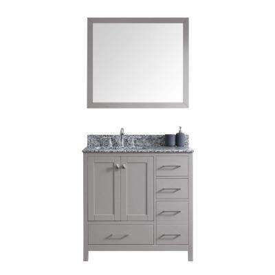 Caroline Madison 36 in. Vanity in Grey with Granite Vanity Top in Arctic White with White Square Basin and Mirror