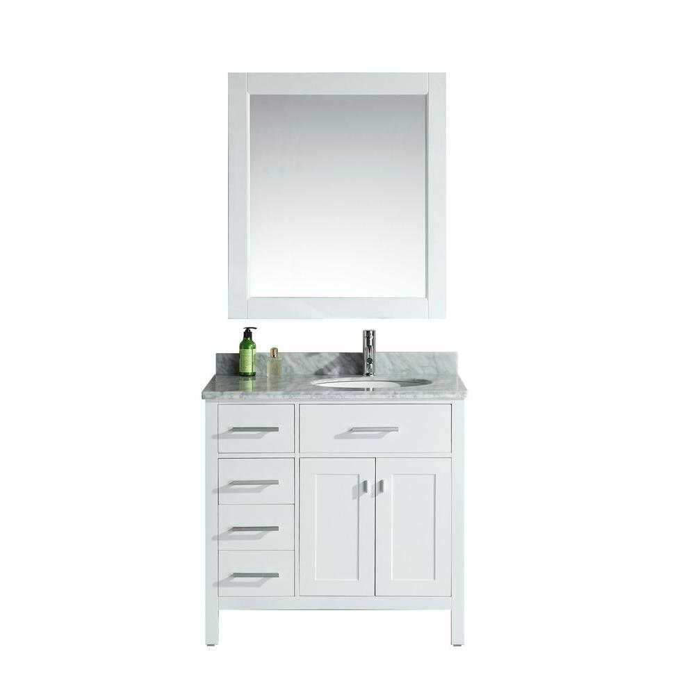 Design Element London 36 in. W x 22 in. D Single Vanity in White with Marble Vanity Top and Mirror in Carrara White