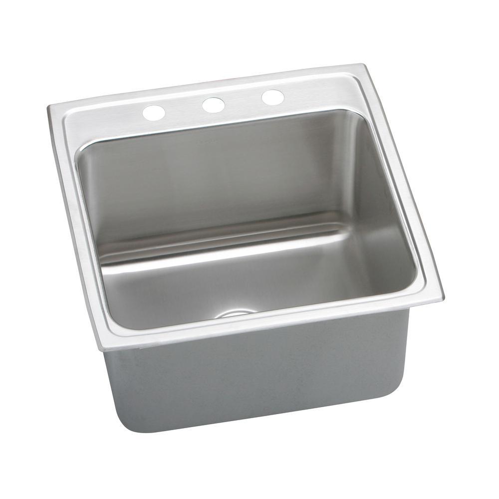 Lustertone Drop-In Stainless Steel 22 in. 3-Hole Single Bowl Kitchen Sink