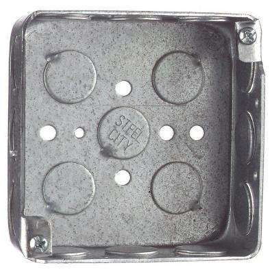 2-Gang 4 in. x 1-1/2 in. Deep Square Steel Electrical Box (Case of 50)