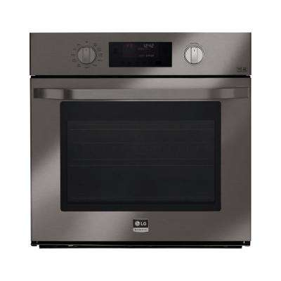 30 in. Single Electric Wall Oven Self-Cleaning with Convection and EasyClean in Black Stainless Steel