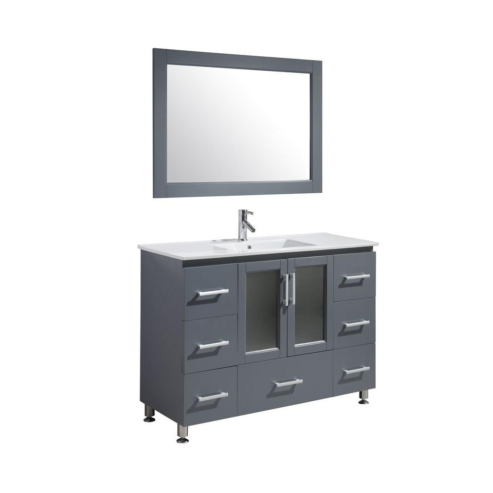 Design Element Stanton 48 in. W x 22 in. D x 35 in. H Vanity in Gray with Porcelain Vanity Top in White, Basin and Mirror