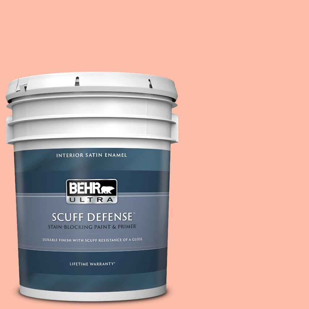 Behr Ultra 5 Gal 200a 3 Blushing Apricot Extra Durable Satin Enamel Interior Paint And Primer In One 775405 The Home Depot