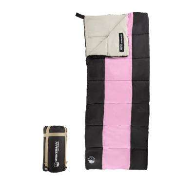 Kids Lightweight Sleeping Bag with Carrying Bag and Compression Straps in Pink/Black