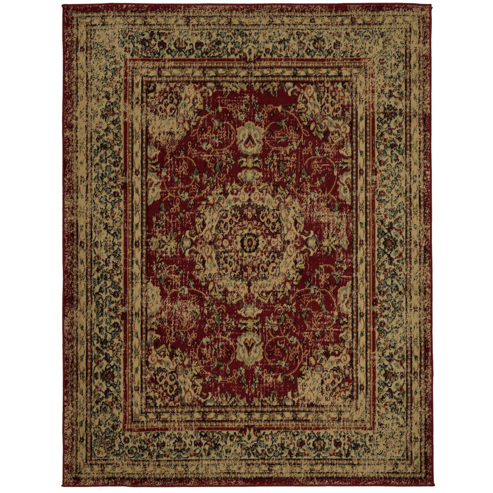 Ottomanson Shag Collection Red 7 Ft X 9 Ft Area Rug
