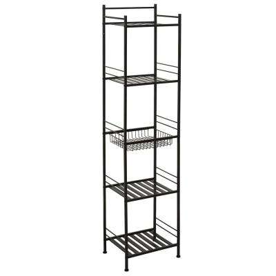 Slat Style 14 in. W x 11 in. D x 58.5 in. H Towel Tower in Bronze