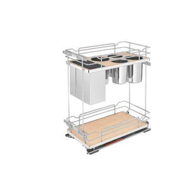 21 in. H x 11.38 in. W x 22.38 in. D Two-Tier Pull-Out Maple Wire Organizer with Knife Block