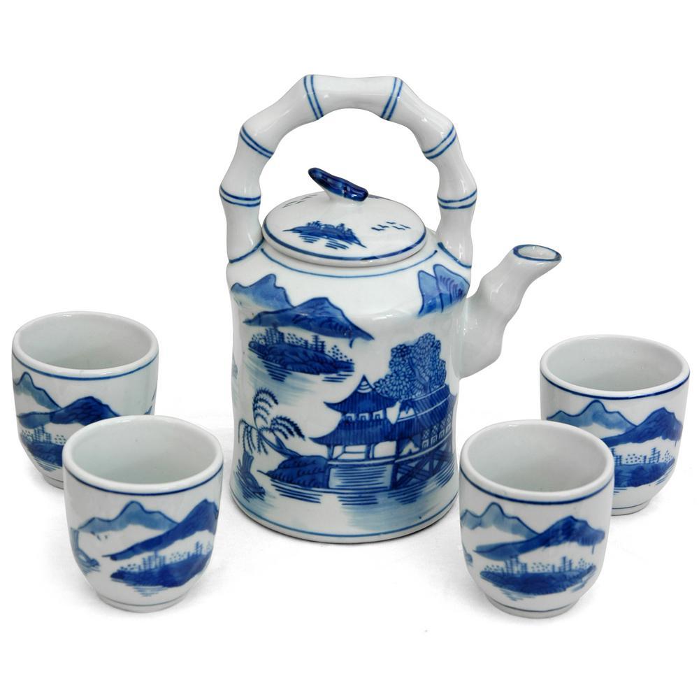 Oriental Furniture Landscape Blue and White Porcelain Tea Set