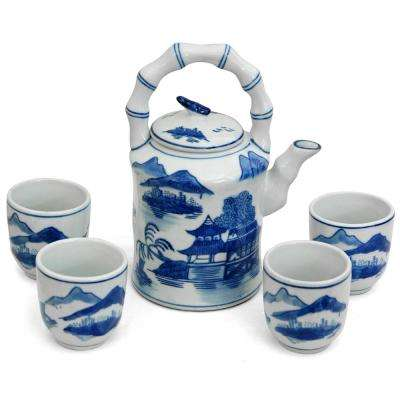 Oriental Furniture Landscape Blue and White Porcelain Tea Set