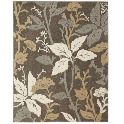Blooming Flowers Gray 7 ft. 10 in. x 9 ft. 10 in. Area Rug