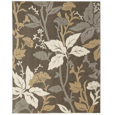 Blooming Flowers Gray 9 ft. x 13 ft. Area Rug
