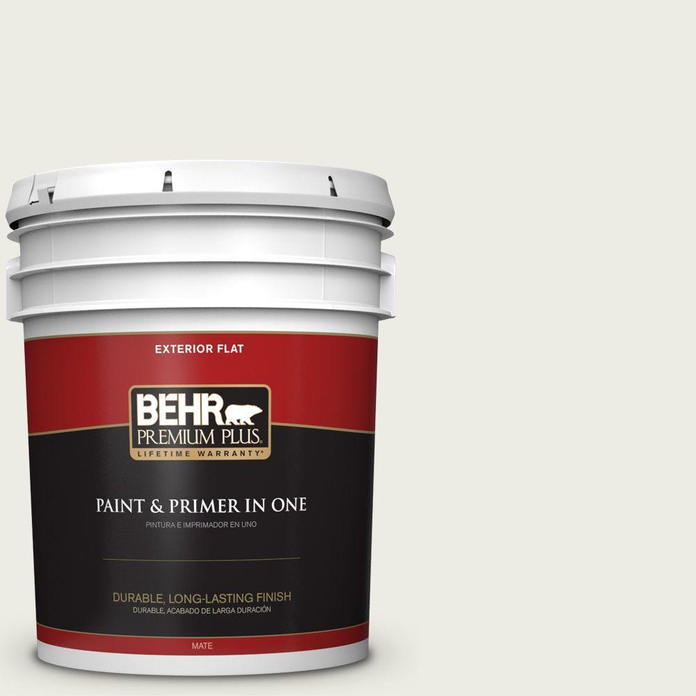 BEHR Premium Plus 5-gal. #ECC-63-2 Aspen Snow Flat Exterior Paint