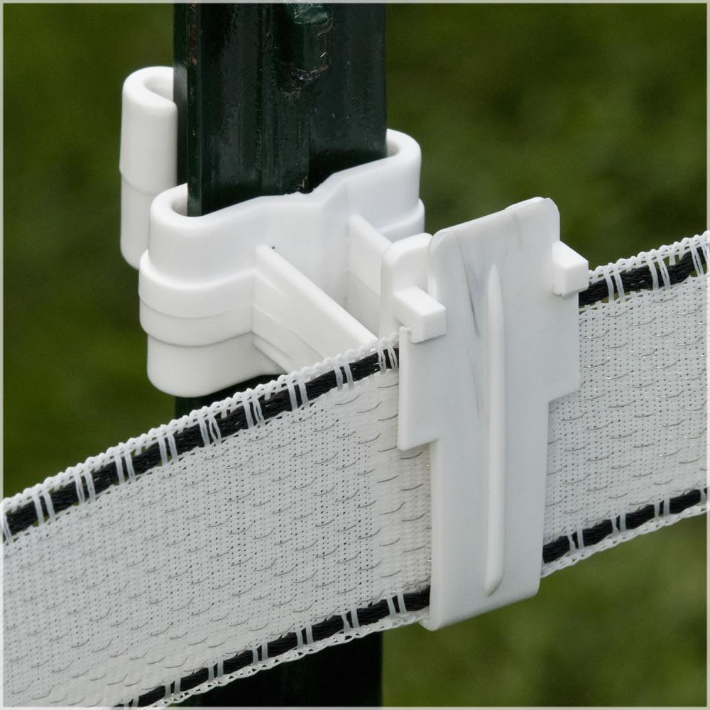 T-Post Poly Tape Insulator Holder Electric Fencing Plastic 25-Per Bag White New