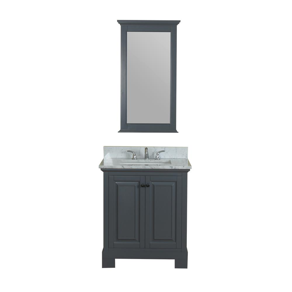 Alya Bath Richmond 30 in. W x 22 in. D Vanity in Gray with Marble Vanity Top in White with White Basin and Mirror