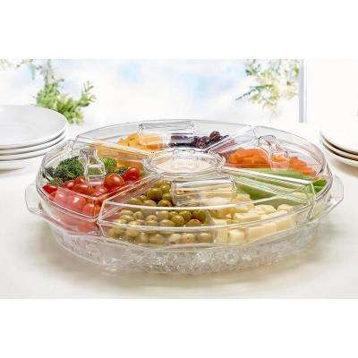 8-Section Clear Ice Chilled Appetizer Tray