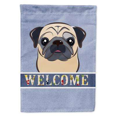 11 in. x 15-1/2 in. Polyester Fawn Pug Welcome 2-Sided 2-Ply Garden Flag