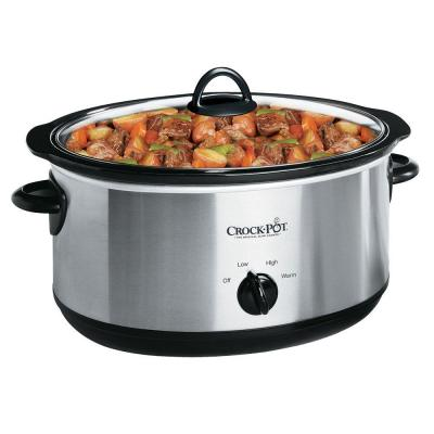 7 Qt. Manual Stainless Steel Slow Cooker with Glass Lid