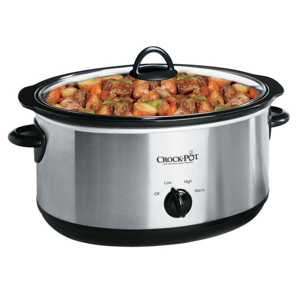 Crock-Pot 7 Qt. Manual Stainless Steel Slow Cooker with Glass Lid