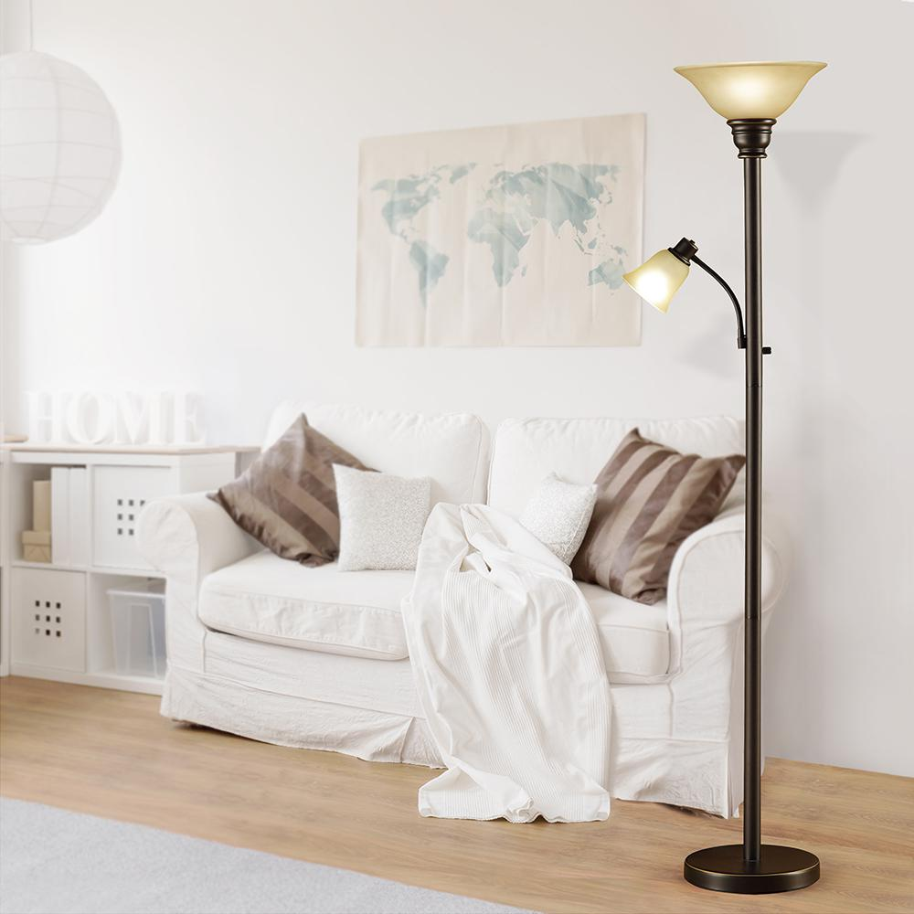 Catalina Lighting 71 in. Oil Rubbed Bronze Torchiere Floor Lamp with  Adjustable Reading Light