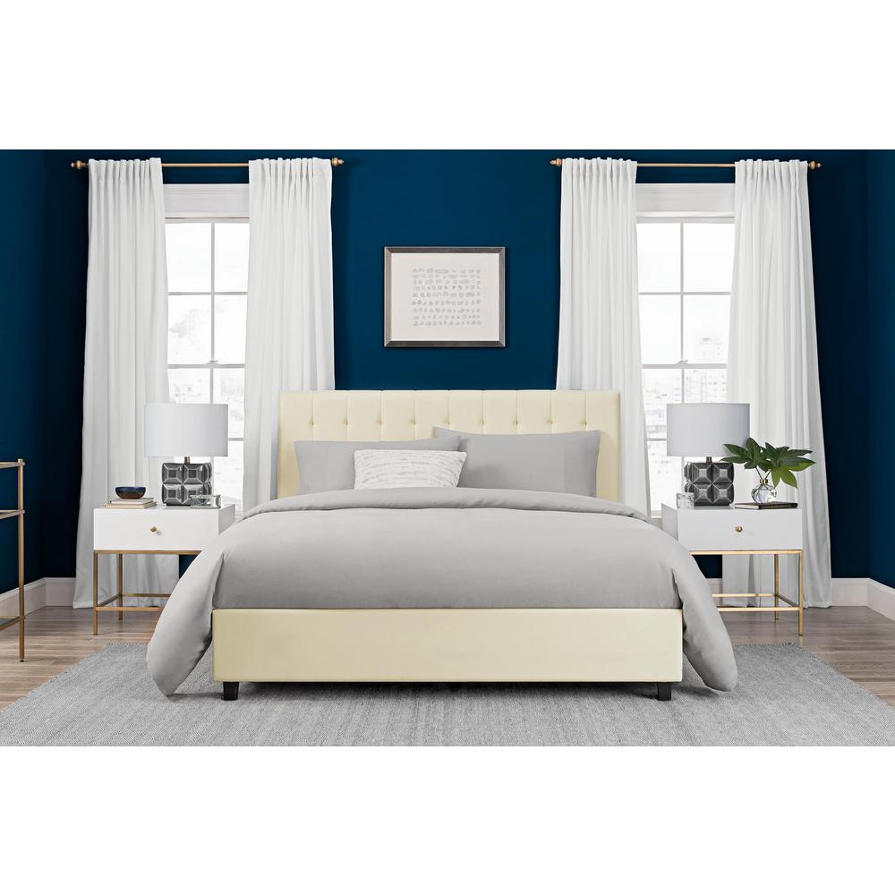 DHP Emily Vanilla Upholstered Faux Leather Queen Size Bed Frame ...