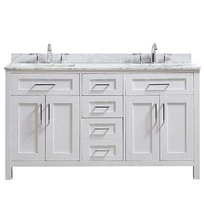 Riverdale 60 in. W x 21 in. D Vanity in White with a Marble Vanity Top in White with White Sink