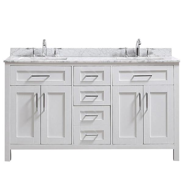 Riverdale 60 in. W x 21 in. D Vanity in White with a Carrara Marble Vanity Top in White with White Sink