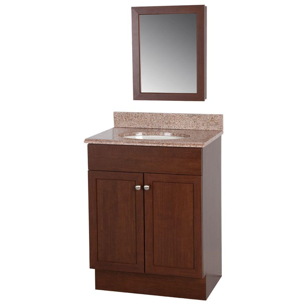 24 in. W Wrap Vanity in Auburn with Vanity Top in