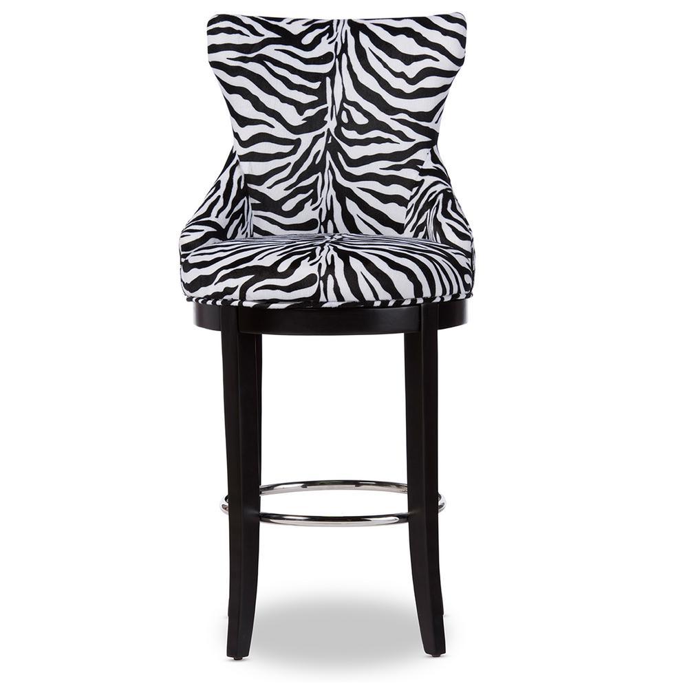 Baxton Studio Peace Zebra Printed Fabric Upholstered Bar Stool