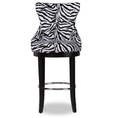 Peace Zebra Printed Fabric Upholstered Bar Stool