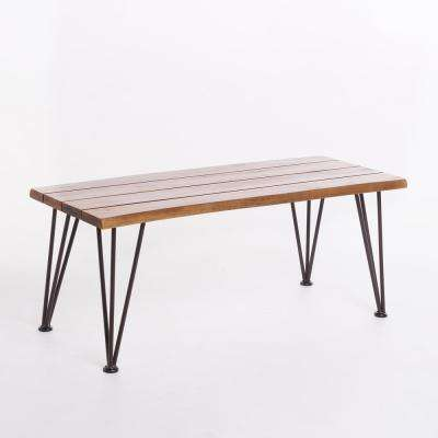 Calixte Teak Finished Rectangle Acacia Wood Outdoor Coffee Table