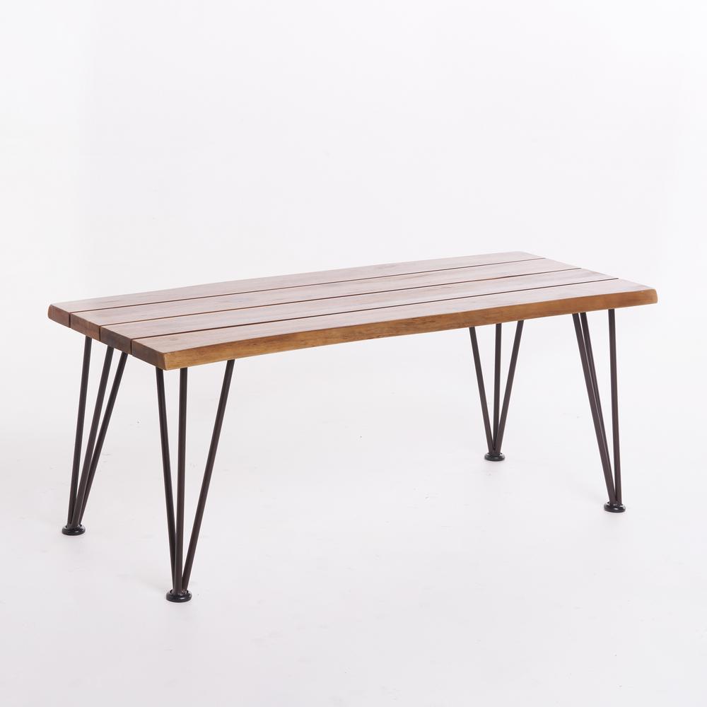 Calixte Teak Finished Rectangle Acacia Wood Outdoor Coffee Table