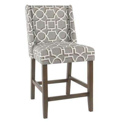 Dinah 24 in. Grey Lattice Bar Stool