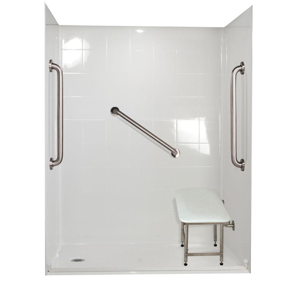 Ella Standard Plus 24 33 in. x 60 in. x 77-3/4 in. Barrier Free Roll-In Shower Kit in White with Left Drain