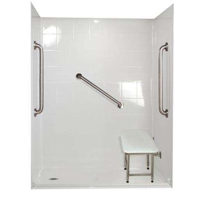 Standard Plus 24 33 in. x 60 in. x 77-3/4 in. Barrier Free Roll-In Shower Kit in White with Left Drain