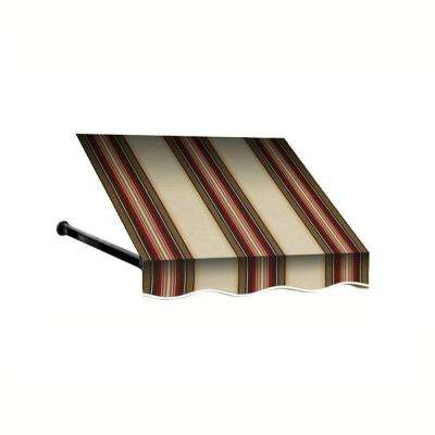 4 ft. Dallas Retro Window/Entry Awning (56 in. H x 48 in. D) in Brown / White Stripe