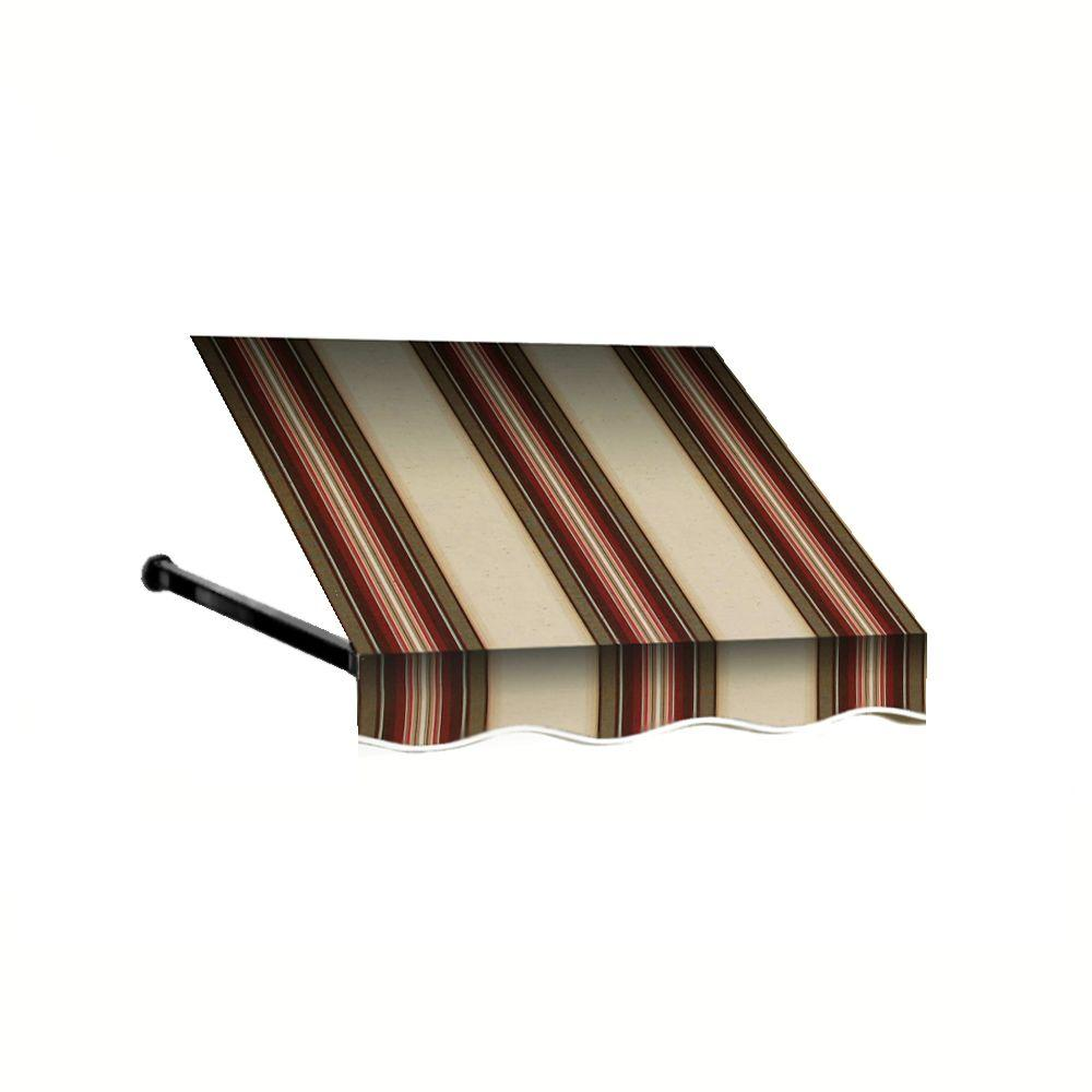 AWNTECH 8 ft. Dallas Retro Window/Entry Awning (56 in. H x 48 in. D) in Brown / White Stripe