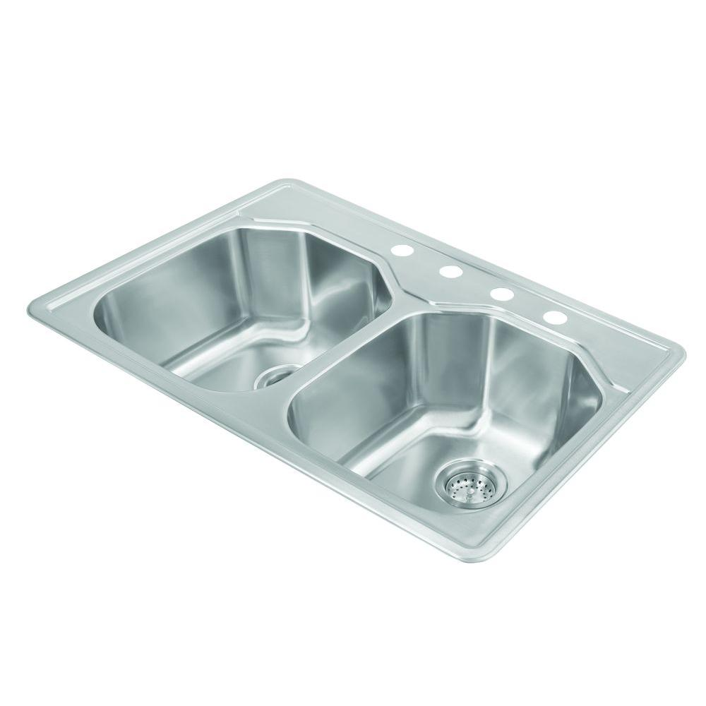 Pegasus Drop-In Stainless Steel 33 in. 4-Hole Double Bowl Kitchen ...