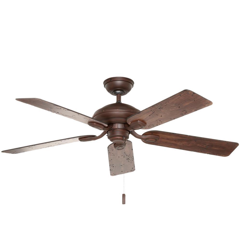 Utopian 52 in. Indoor/Outdoor Brushed Cocoa Bronze Ceiling Fan