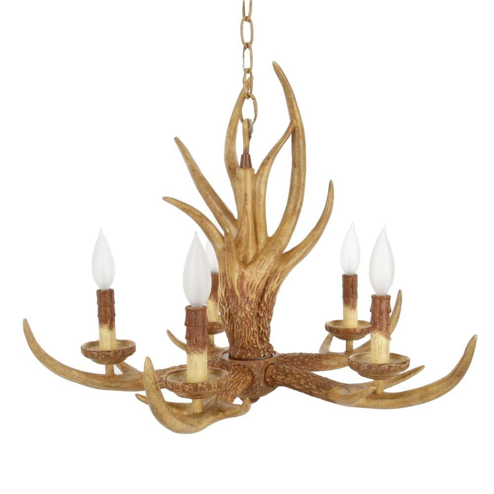 Hampton Bay 5 Light Natural Antler Hanging Chandelier 17195 The Home Depot