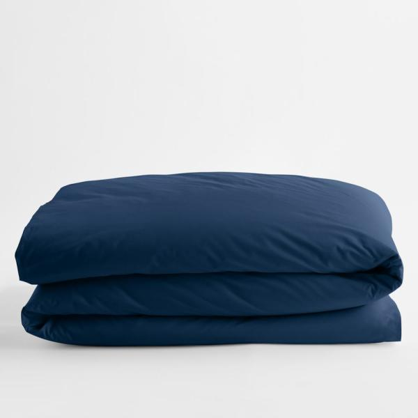 Classic Navy Blue Solid Cotton Percale Twin XL Duvet Cover