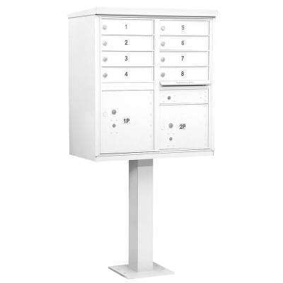White USPS Access Cluster Box Unit with 8 A Size Doors and Pedestal