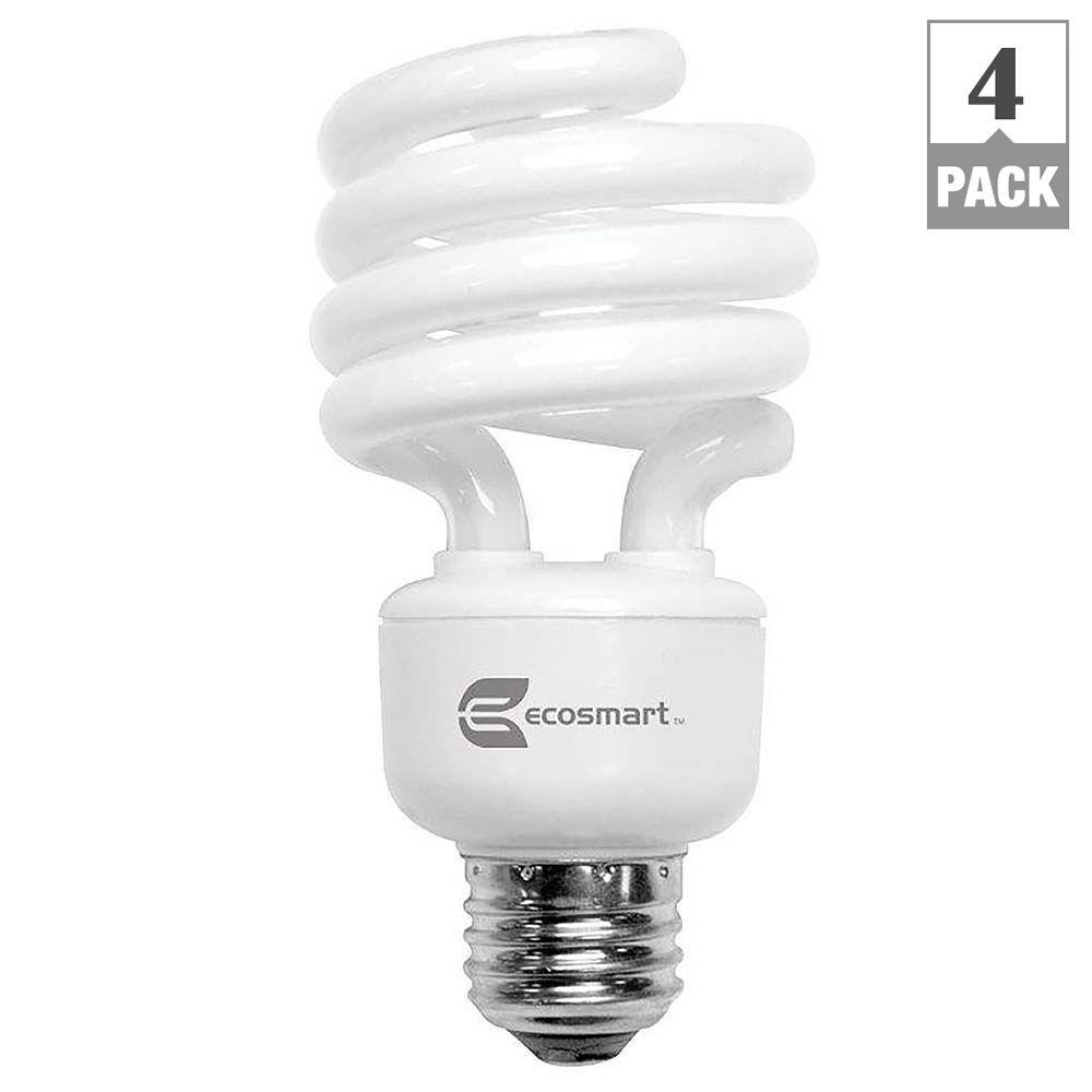 EcoSmart 100-Watt Equivalent Spiral CFL Light Bulb, Bright