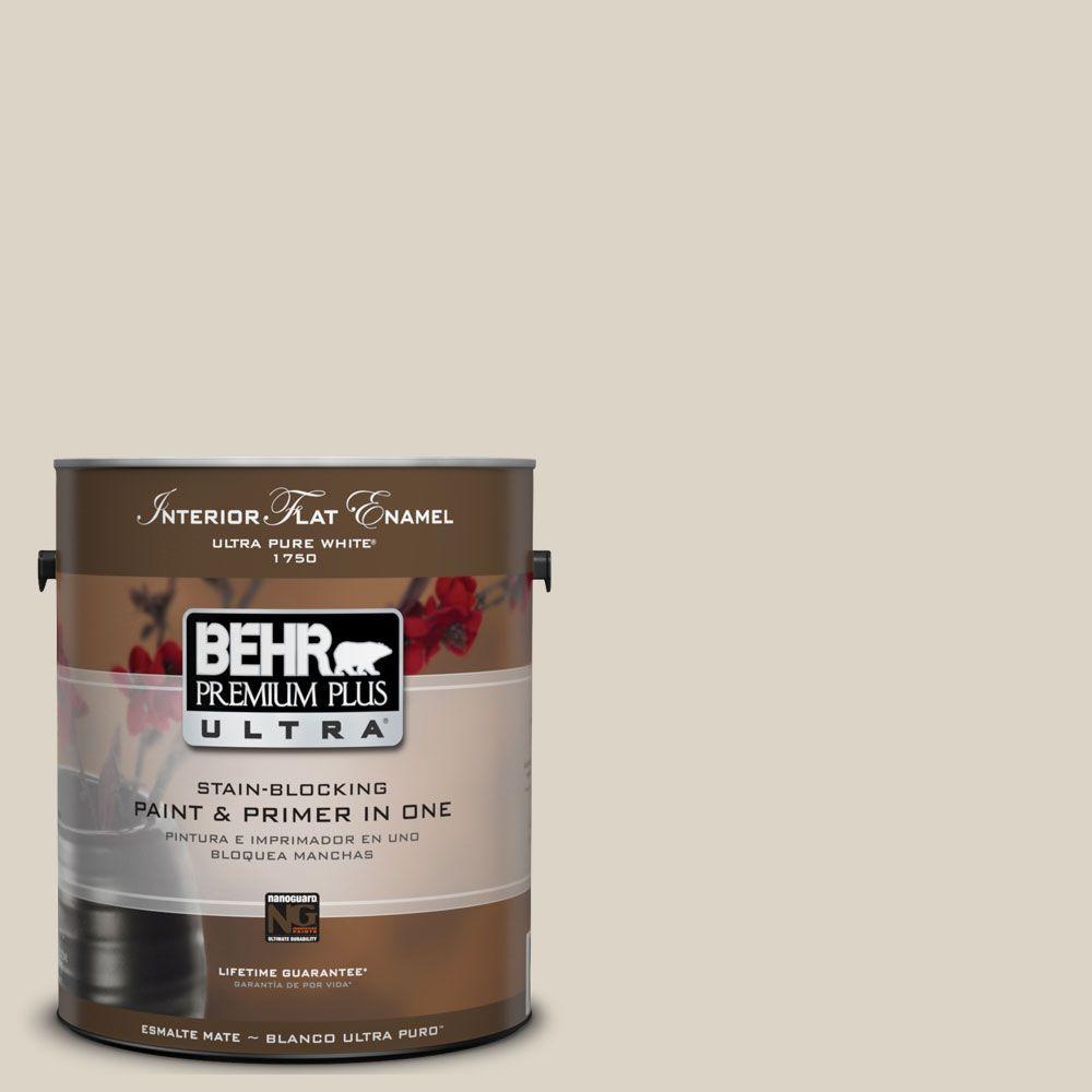 BEHR Premium Plus Ultra 1-Gal. #UL170-14 Canvas Tan Interior Flat Enamel Paint