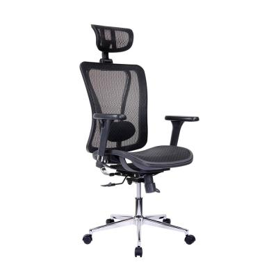 TechniMobili Black High Back Executive Mesh Office Chair with ArmsHeadrest and Lumbar Support
