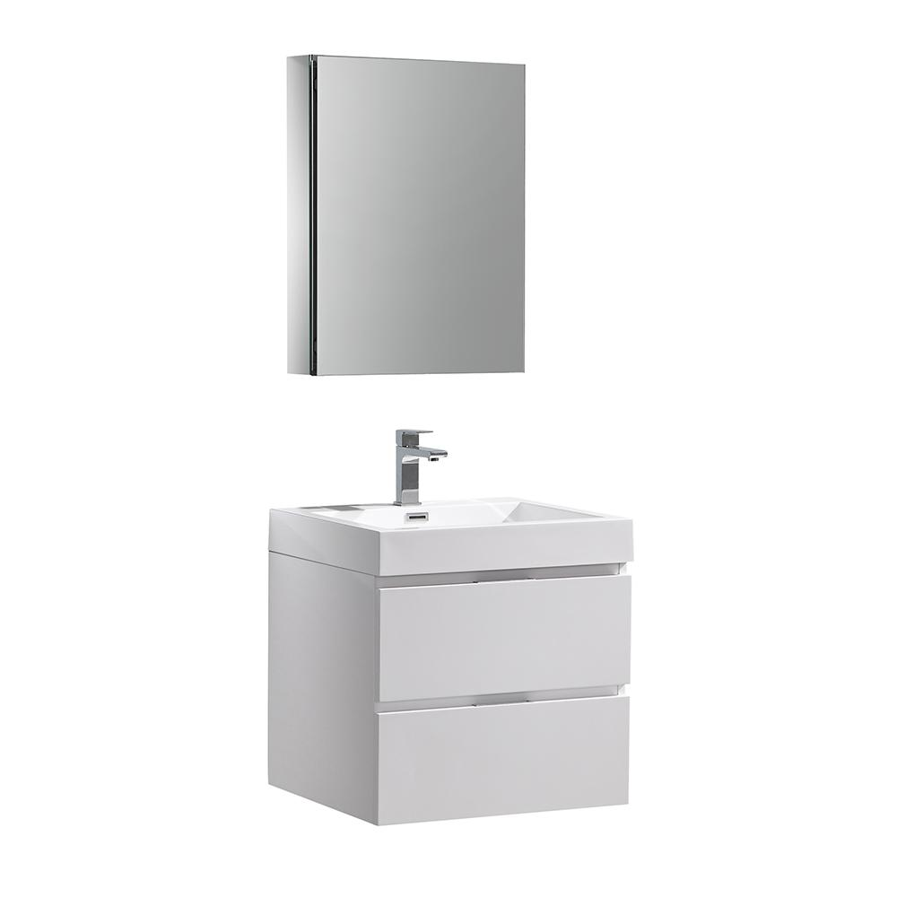 W Wall Hung Vanity In White With Acrylic Top