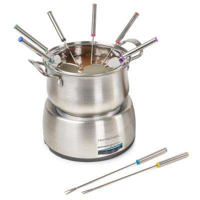 10-Piece 2 qt. Stainless Steel Chocolate Fondue Pot with Fondue Forks
