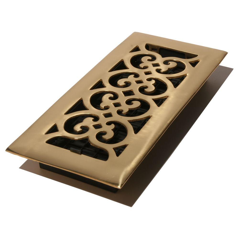 Decor Grates 4 in. x 14 in. Bright Solid Brass Floor Register-DISCONTINUED