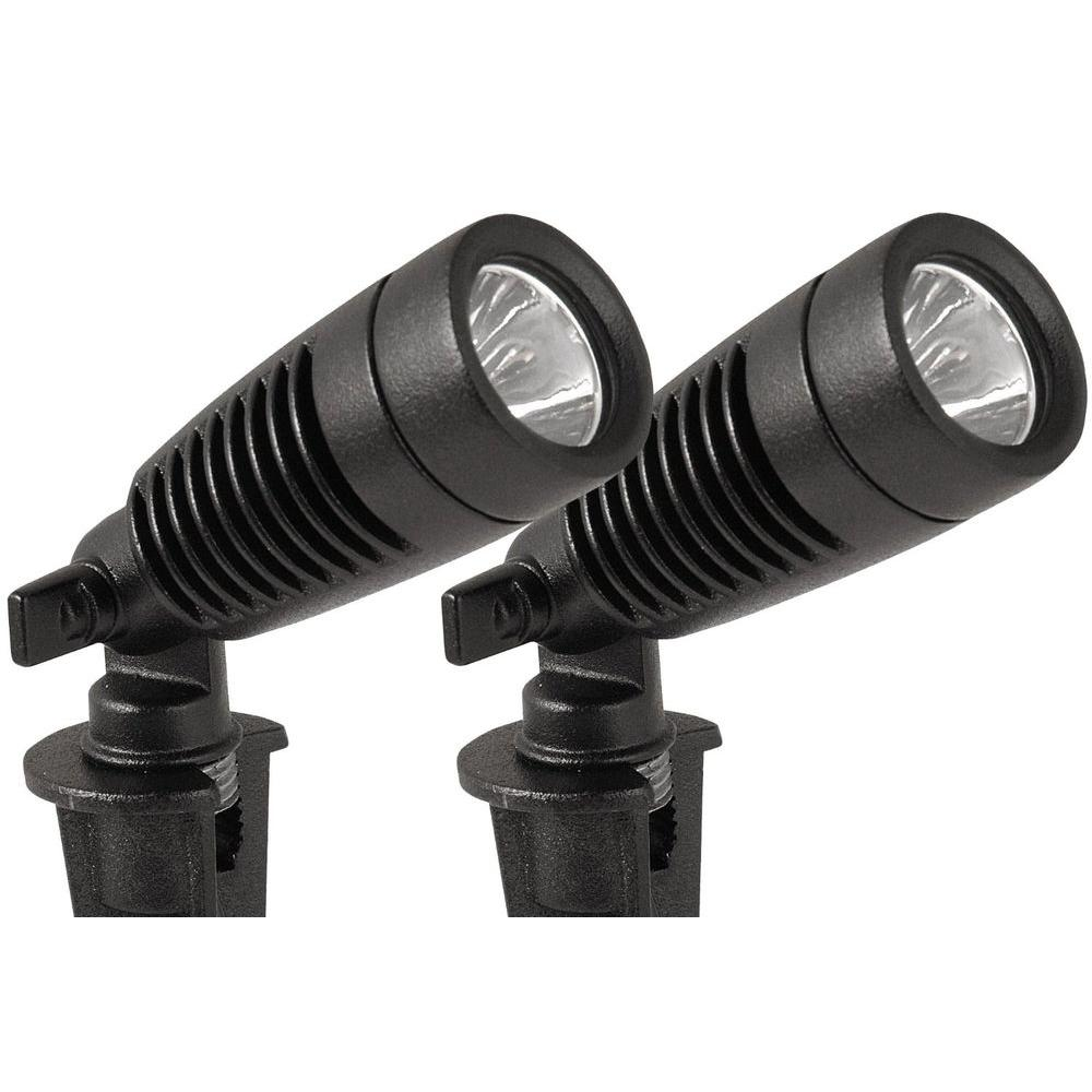 Low-Voltage 1-Watt Black Outdoor Integrated LED Adjustable Landscape Spot Light